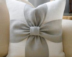 Burlap bow pillow cover in off white and natural by LowCountryHome