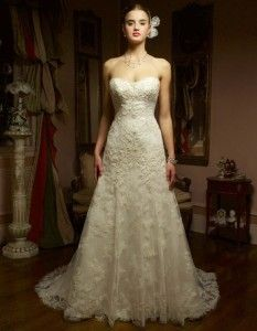 Beautiful lace Aline! Come try it on at Bobbies Bridal in Peoria, IL!  Casablanca1827