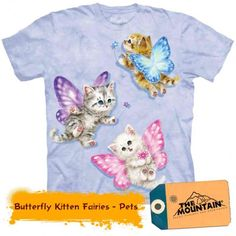 The Mountain Butterfly Kitten Fairies T-Shirt Cat Light Purple - Cat Tshirt Cute Kittens, Cats And Kittens, Boys T Shirts, Tee Shirts, T Shirts For Women, Funny Shirts, Butterfly Fairy, Just For You, Stuff To Buy