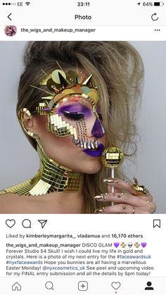 Disco Studio 54 Skull Makeup using NYX Cosmetics, Swarovski crystals and gold mosaic mirror ball tiles