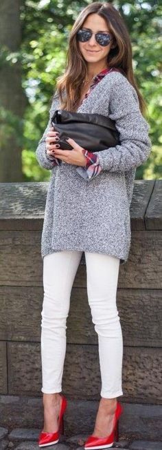 #fall #trending #outfits | Grey Sweater + White Denim + Red Pumps