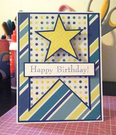 Pink and Paper: Star Birthday Card