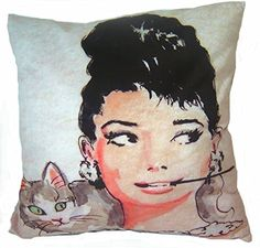 Cushion cover throw pillow case 18 inch retro vintage pop art Audrey Hepburn pipe pet cat both sides image zipper Throw Pillow Cases, Throw Pillows, Cat Pillow, Hollywood Star, Special Gifts, Print Patterns, Pop Art, Retro Vintage, Cushions