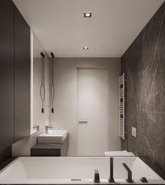 Two bathroom design ideas Home Building Design, Building A House, Bathroom Design Small, Bathtub, Bath Room, Mirror, Interior, Behance, Design Ideas