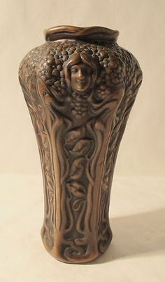 IMPORTANT c. 1900 CLEWELL ART NOUVEAU VASE COPPER OVERLAY SIGNED