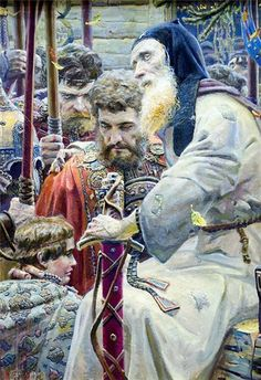 """Павел Рыженко.  """"Благословение Сергия"""" 2005 г. Холст, масло. 100 cм Х 60 cм."""