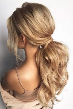 pony tail hairstyles simply modern swept on long blonde hair hair_vera pony tail hairstyle Curly Hair Styles, Medium Hair Styles, Hair Styles Party, Long Hair Ponytail Styles, Long Ponytails, Hair Styles For Formal, Hair Styles For Long Hair For School, Prom Hair Styles, Hair Down Styles