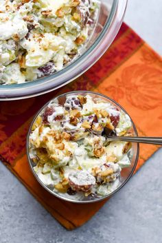 Crisp apples, red grapes, and celery tossed with a pineapple sweetened whip cream. An ambrosia-inspired take on classic Waldorf Salad. Marshmellow Salad, Easy Dinner Recipes, Holiday Recipes, Holiday Foods, Apple Recipes, Summer Recipes, Dessert Recipes, Valerie's Kitchen, Recipes With Whipping Cream