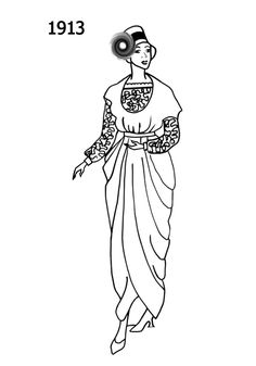 1913: Shapely, high bust, high waist sihouette, fitted worn over the line corset, long sleeve ankle length dress