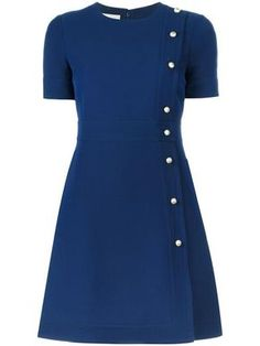 Blue wool blend A-line button dress from Gucci. Formal Dresses With Sleeves, Lovely Dresses, Blue Dresses, Casual Dresses, Short Sleeve Dresses, Short Sleeves, Navy Dress, Woolen Dresses, Wool Dress