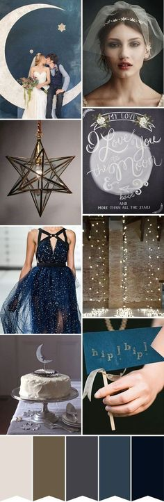 Star-and-Moon-Wedding-Inspiration. Read More - http://onefabday.com/love-moon-starry-night-wedding-inspiration/