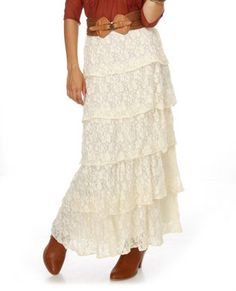 Lucca Couture Mary Kate Cream Lace Maxi Skirt @lulus #fashion #skirt