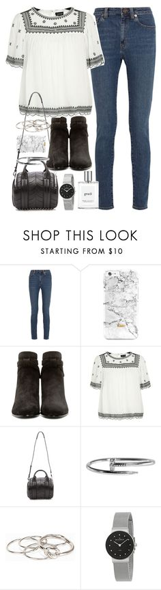 """""""Emma Roberts inspired outfit with jeans and suede boots"""" by ferned ❤ liked on Polyvore featuring Yves Saint Laurent, Topshop, Alexander Wang, Pieces, Skagen and philosophy"""