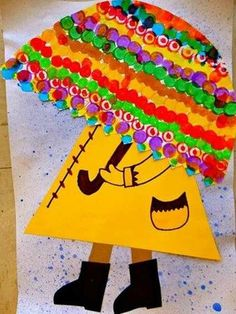 Umbrella craft idea for kids Spring Art Projects, School Art Projects, Spring Crafts, Projects For Kids, Kids Crafts, Arts And Crafts, Kindergarten Art, Preschool Art, Arte Elemental