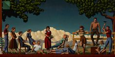 Artwork by American contemporary artist Kenton Nelson Art Optical, Optical Illusions, Painting Words, Figure Painting, American Scene Painting, Frida And Diego, Edward Hopper, Art Plastique, American Artists