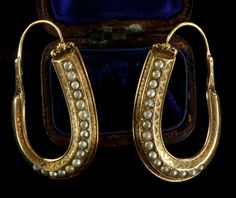 1830-40s Early Victorian Large Pearl Creole Hoop Earrings, 14K Gold, $3250 Probably my favorite thing in the shop right now.  They're ...