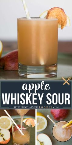 This Apple Whiskey Sour, blended with apple juice, bourbon whiskey, lemon, and simple syrup, is an easy and delicious fall cocktail. #cocktail #whiskeysour #apple #bourbon #whiskey #easy #simplesyrup #recipe #fall #drink Bourbon Whiskey, Apple Cider Whiskey, Apple Bourbon, Apple Cider Cocktail, Sour Cocktail, Bourbon Drinks, Cocktail Drinks, Apple Cocktails, Recipes