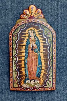 c2b01d8bc9288f Catherine Robles Shaw Gallery, Our Lady of Guadalupe Retablo Madona,  Blessed Virgin Mary,