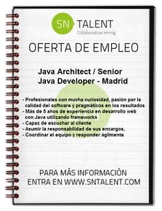 #Empleo #Java Architect/Senior Java Developer en #Madrid