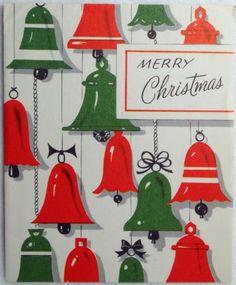 #223 50s Mid Century Bells-Vintage Christmas Greeting Card