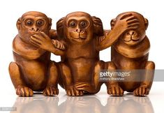 See No Evil Hear No Evil Speak No Evil Stock Photos and Pictures ... Canvas Wall Art, Wall Art Prints, Canvas Prints, Three Wise Monkeys, See No Evil, Little Monkeys, Wood Carving, Lion Sculpture, Sculptures
