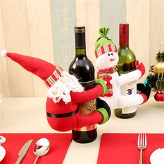 Ingenious Hot Sale 1pcs Table Decorations Wine Bottle Cover Ornament Wedding Table Decorations Novelty Decoration Snowman Santa Clause L Fashionable In Style;