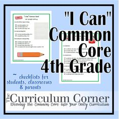 4th Grade Common Core standards written in kid friendly (and parent helpful) format! Presented as posters so you can display them in your classroom or send them home to parents.
