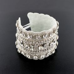 Crystal Applique Cuff Bracelet - A glittering statement piece with endless detailing.  Made with prong-set crystals and seed beads.