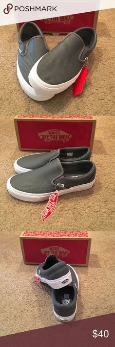Vans Classic slip ons New in box. Unisex. Perforated leather. Smoked pearl. Vans Shoes Sneakers