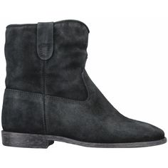 Isabel Marant Crisi suede ankle boots ($555) ❤ liked on Polyvore featuring shoes, boots, ankle booties, botas, black, black wedge boots, black wedge bootie, black suede bootie, black high heel boots and suede wedge bootie