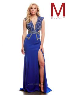Royal, silver, full length, cut out style dress.  48405A | Mac Duggal