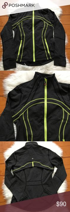 "Lululemon Charcoal Gray Green Define Zip Up Jacket Please note the loose stitching in the last 2 pictures! Measurements: Armpit to armpit: 17"" Sleeves: 25"" Length: 24"" *F4 lululemon athletica Jackets & Coats"