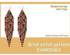 Beaded earrings PATTERN for brick stitch with fringe Beaded Earrings Patterns, Seed Bead Earrings, Etsy Earrings, Seed Beads, Beaded Jewelry, Fringe Earrings, Handmade Jewelry, Bead Crochet Patterns, Beading Patterns