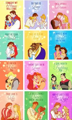 Disney Princesses The only thing I don't like about this is that Giselle is pictured with Prince Edward, whom she does not wind up with because he is not her true love, but the rest is wonderful.