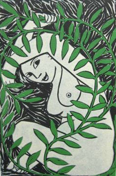 Spring Waking Up Anita Klein Botanical Illustration, Illustration Art, Linocut Artists, Children Sketch, Hawaiian Art, Block Prints, Lino Prints, Life Drawing, Drawing Stuff