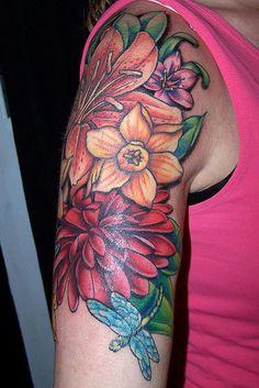 floral collage2 tattoo by maliareynolds, via Flickr