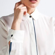 elegant contrast color front placket and gently rounded collar. by Everlane