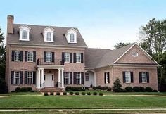 Colonial with open floor plam - wp architectural designs - house plans. Exterior Colonial, Colonial House Exteriors, Colonial House Plans, Modern Colonial, Traditional House Plans, House Floor Plans, Exterior Design, Colonial House Remodel, Traditional Homes