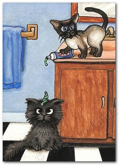Siamese Cat Tricky Toothpaste  Art Prints & ACEOs por AmyLynBihrle