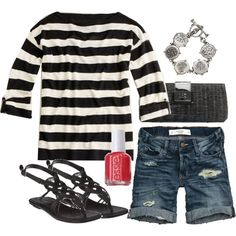 springtime stripes! Love this outfit but probably won't pull off horizontal Stripes for a few more months