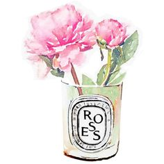 Diptyque Candle Pink Rose Flower Vase Print from Watercolor Painting... (50 PEN) ❤ liked on Polyvore featuring home, home decor, wall art, fillers, flowers, watercolor fashion illustration, flower wall art, watercolor wall art, watercolor poster and flower vase
