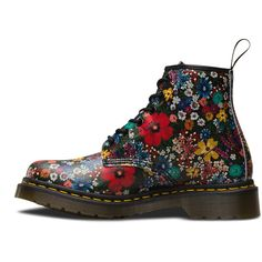 Dr. Martens 101 Wanderlust Lace Low Boot ($150) ❤ liked on Polyvore featuring shoes, boots, ankle booties, multi, floral print boots, lace-up booties, flower print boots, floral boots and low ankle booties