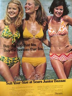 """""""Suit-Your-Size at Sears Junior Bazaar. Seventies Fashion, 60s And 70s Fashion, Retro Fashion, Vintage Fashion, Vintage Bathing Suits, Vintage Bikini, Vintage Swimsuits, 70s Outfits, Sport Outfits"""