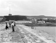 "East Pier, Howth, Co. Dublin by French, Robert, photographer Published / Created: [between ca. In collection: The Lawrence Photograph Collection "". Old Photos, Vintage Photos, Images Of Ireland, Photo Engraving, St Anne, Dublin, Revolution, Irish, Nostalgia"