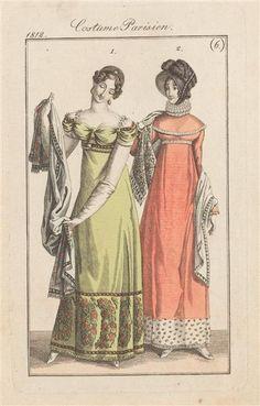 6 Right = 1197 Left = 1200 Fashion plate, Journal des Dames et des Modes Regency Dress, Regency Era, Historical Costume, Historical Clothing, Victorian Fashion, Vintage Fashion, French Fashion, Ladies Fashion, Gothic Fashion