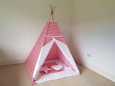 Red and white chevron teepee play tent for kids / zigzag tipi / kids wigwam / girls teepee / boys teepee by TeepeeTotsIE on Etsy