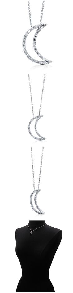 Sterling Silver CZ Crescent Moon Fashion Necklace