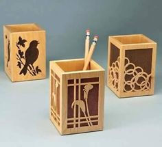 great 3 boxes free dxf file - cnc world Laser Cutter Ideas, Laser Cutter Projects, Scroll Saw Patterns, Wood Patterns, Wood Crafts, Diy And Crafts, Paper Crafts, Free Wood Texture, Wooden Pen Holder