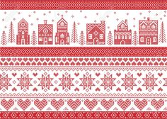 Immagine vettoriale stock 516923293 a tema Seamless Scandinavian Style Nordic Culture Inspired (royalty free) Scandinavian Style, Nordic Style, Norwegian Christmas, Nordic Christmas, Christmas Cross, Merry Christmas, Cross Stitch Bookmarks, Cross Stitch Embroidery, Cross Stitch Designs