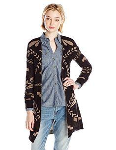 3ded5d79068 Derek Heart Juniors  Long-Sleeve Drop-Shoulder Double Jacquard Sweater  Open-front jacquard sweater with long sleeves and drop-shoulder seams Rib- knit cuffs ...